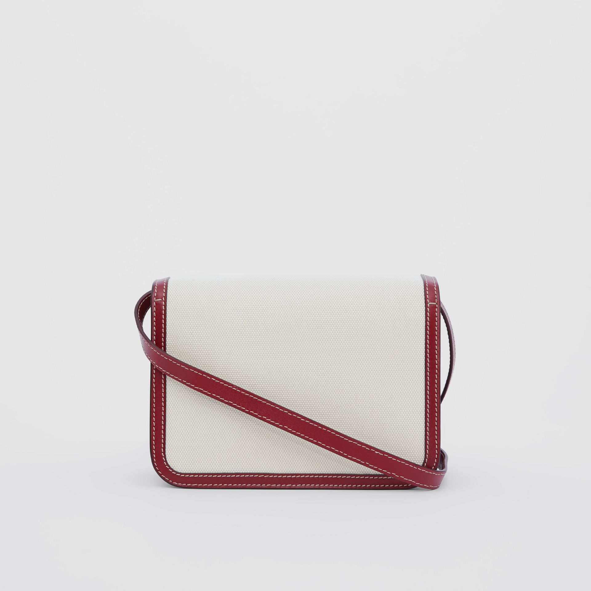 Small Two-tone Canvas and Leather TB Bag in Natural/dark Carmine - Women | Burberry - gallery image 6