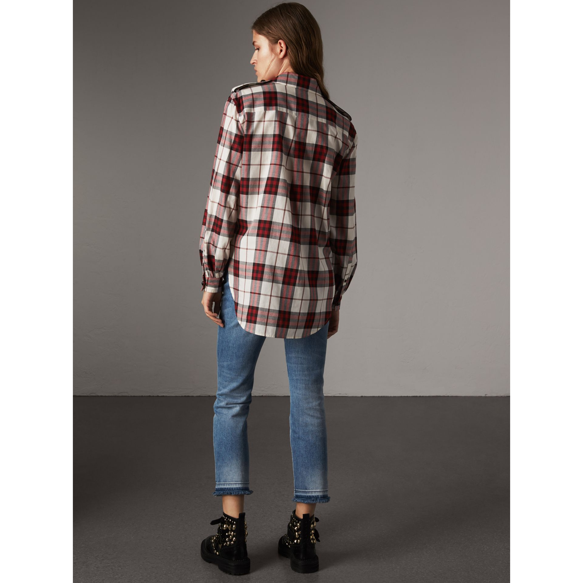 Check Cotton Flannel Military Shirt in Crimson Red - Women | Burberry - gallery image 3