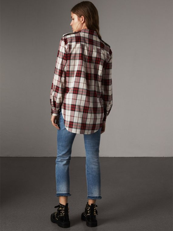 Check Cotton Flannel Military Shirt in Crimson Red - Women | Burberry United States - cell image 2