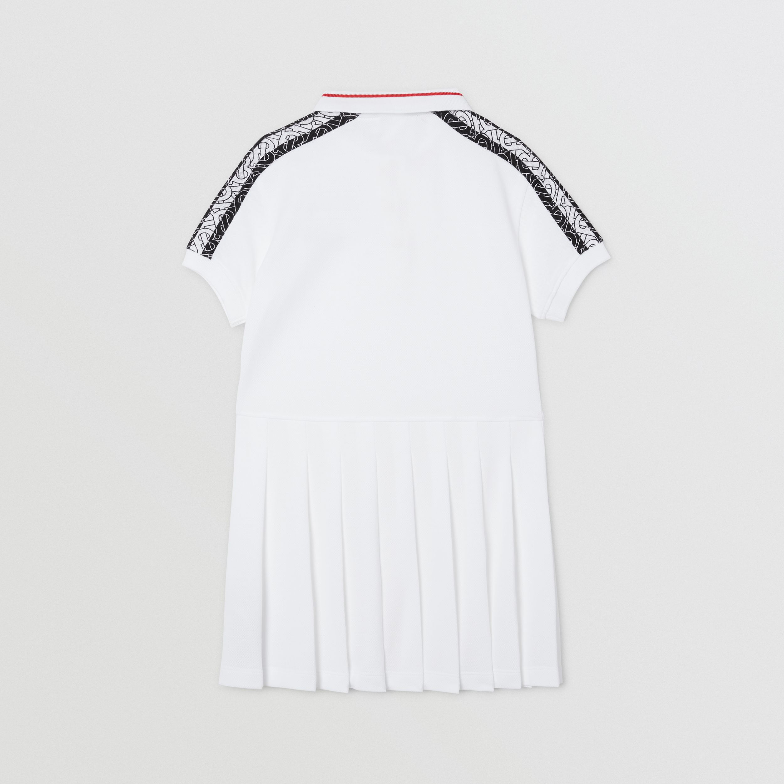 Monogram Stripe Print Cotton Piqué Polo Shirt Dress in White | Burberry - 4