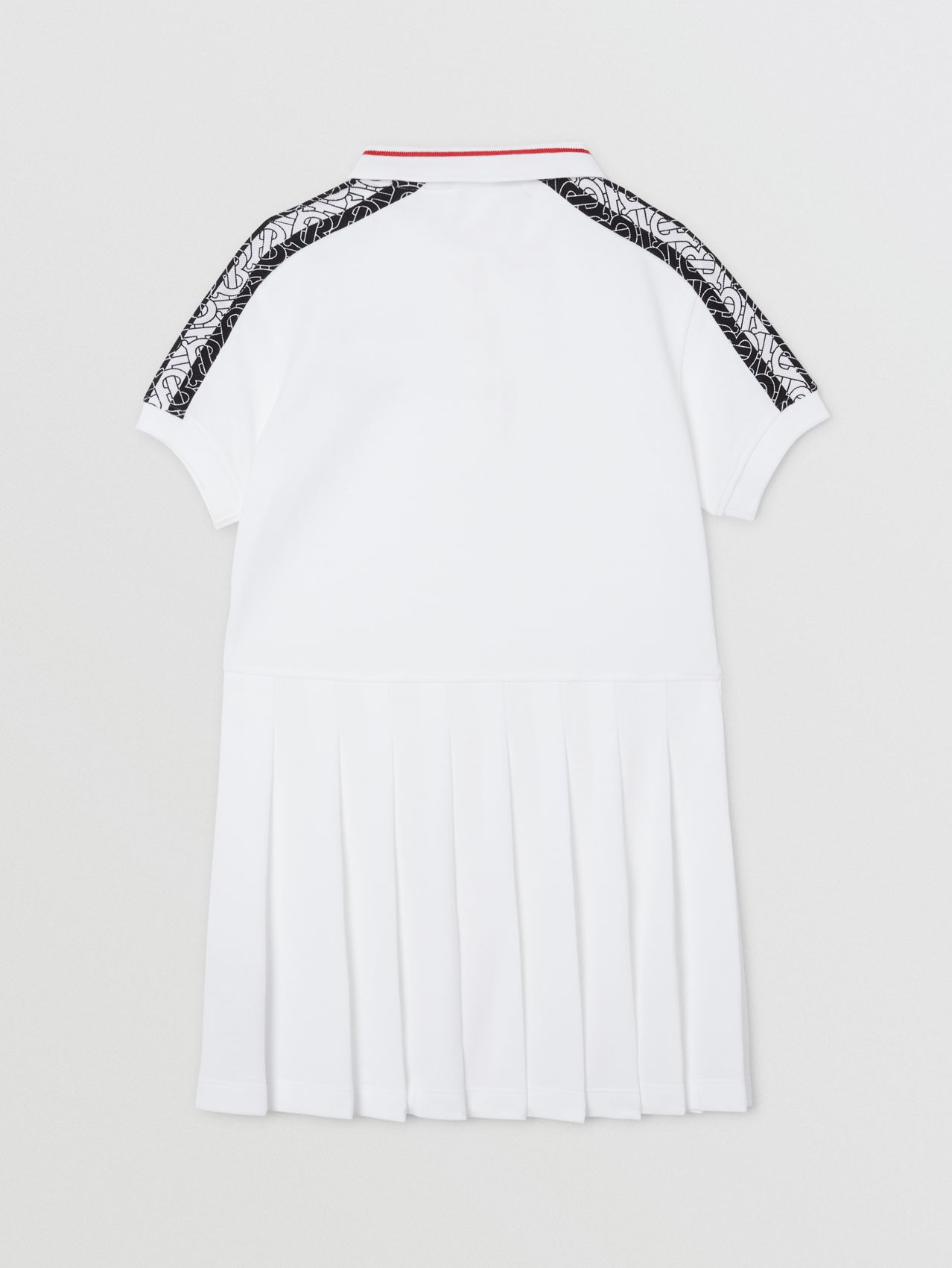 Monogram Stripe Print Cotton Piqué Polo Shirt Dress (White)
