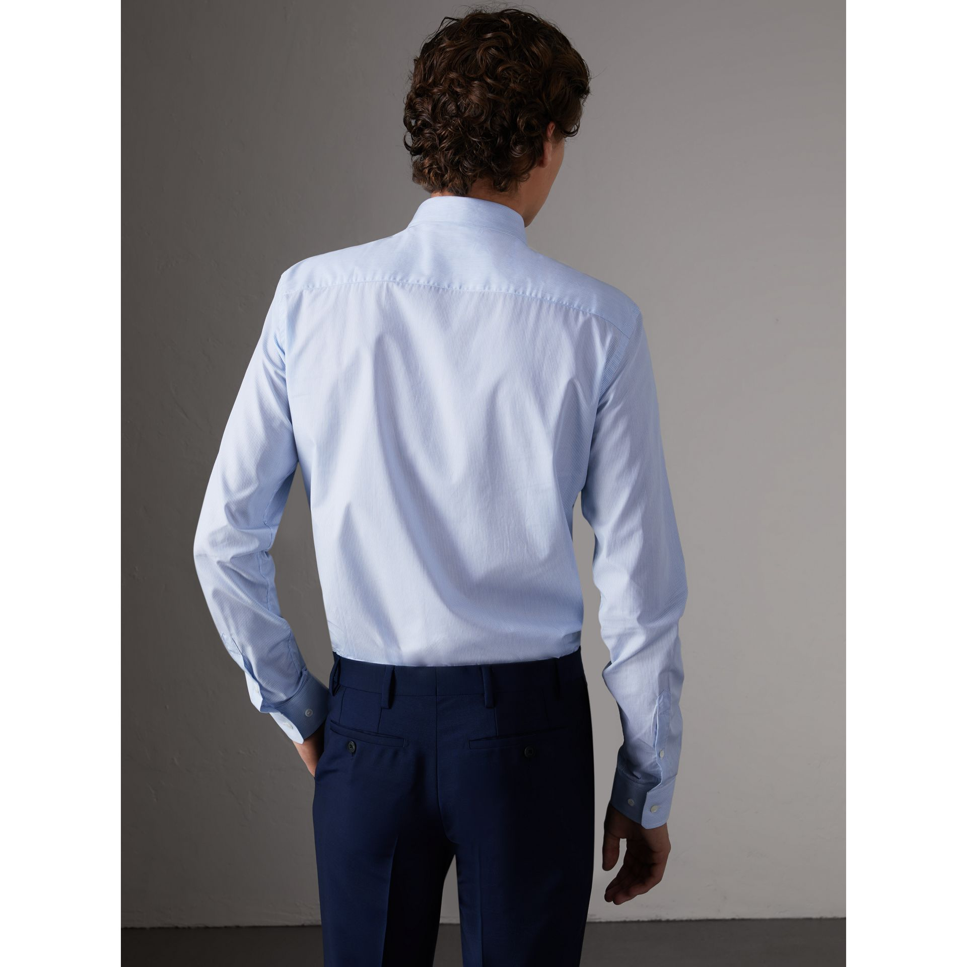 Slim Fit Striped Cotton Poplin Shirt in City Blue - Men | Burberry - gallery image 2