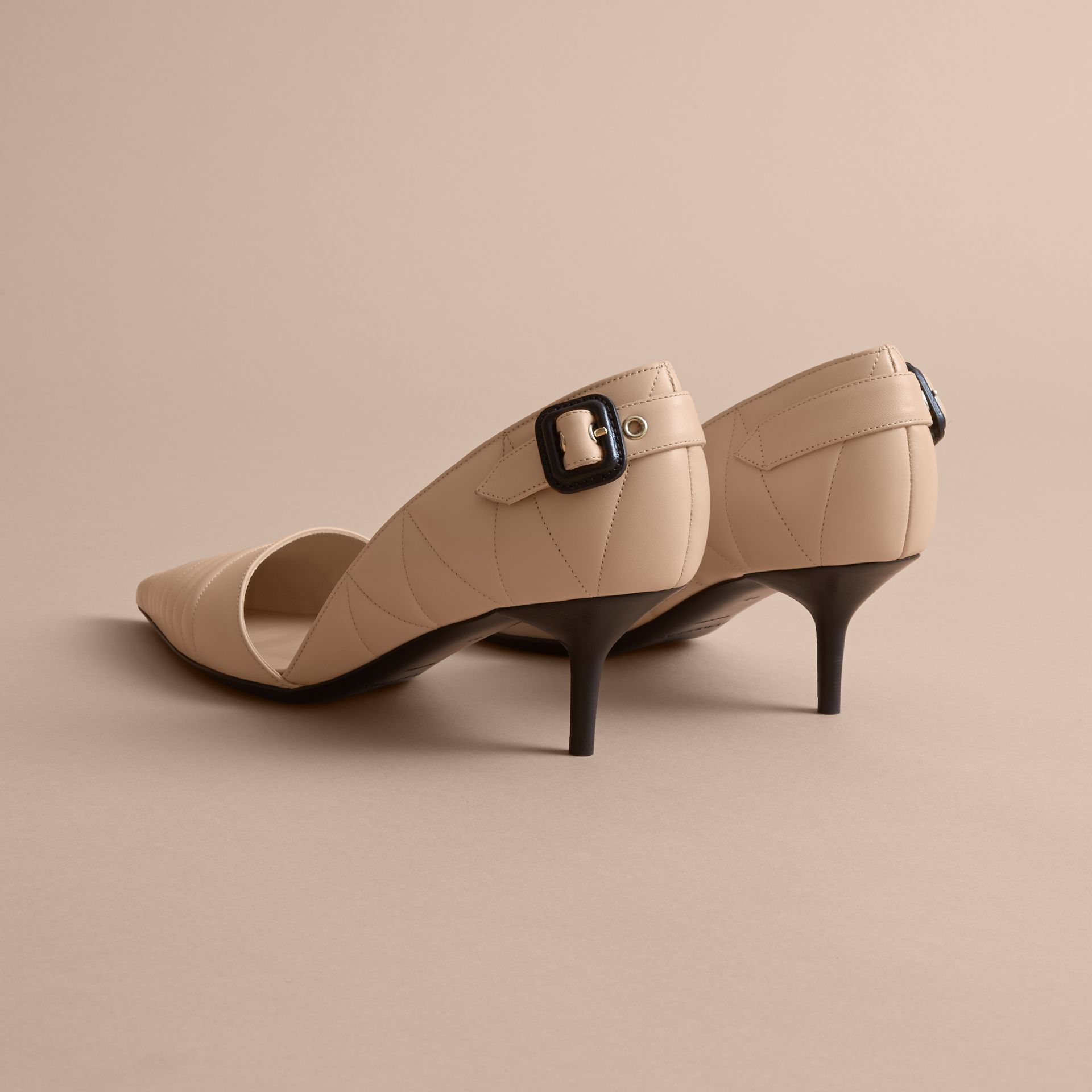 Quilted Leather D'Orsay Pumps in Pale Taupe - Women | Burberry - gallery image 4