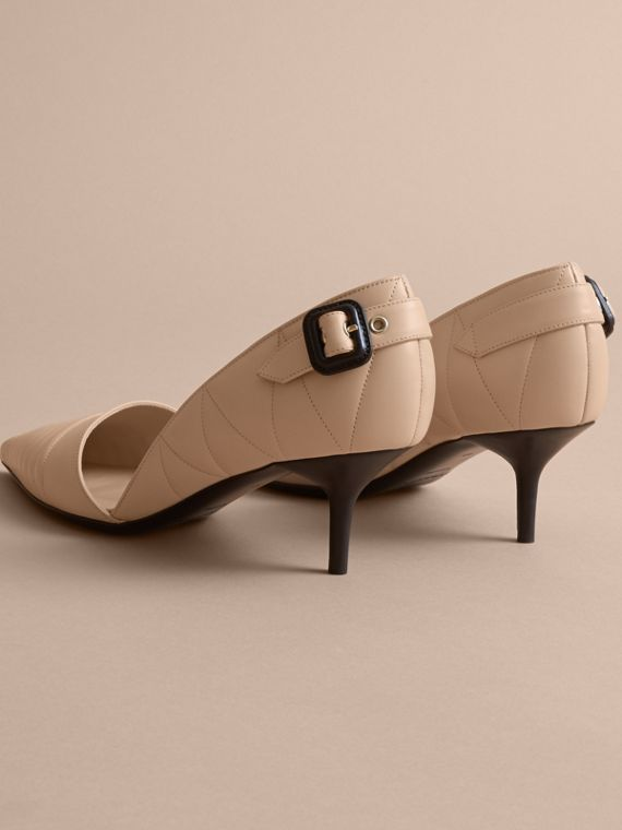 Quilted Leather D'Orsay Pumps in Pale Taupe - Women | Burberry - cell image 3
