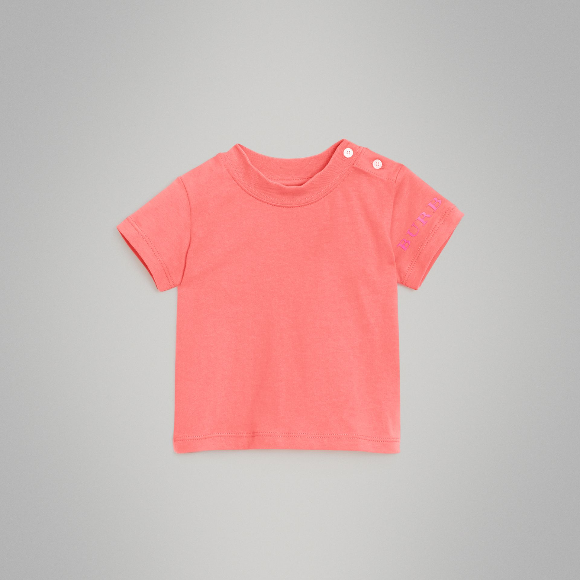 Logo Print Cotton T-shirt in Bright Pink - Children | Burberry - gallery image 0