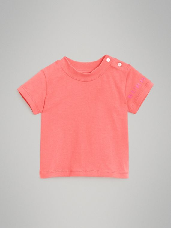 T-shirt in cotone con logo (Rosa Intenso)