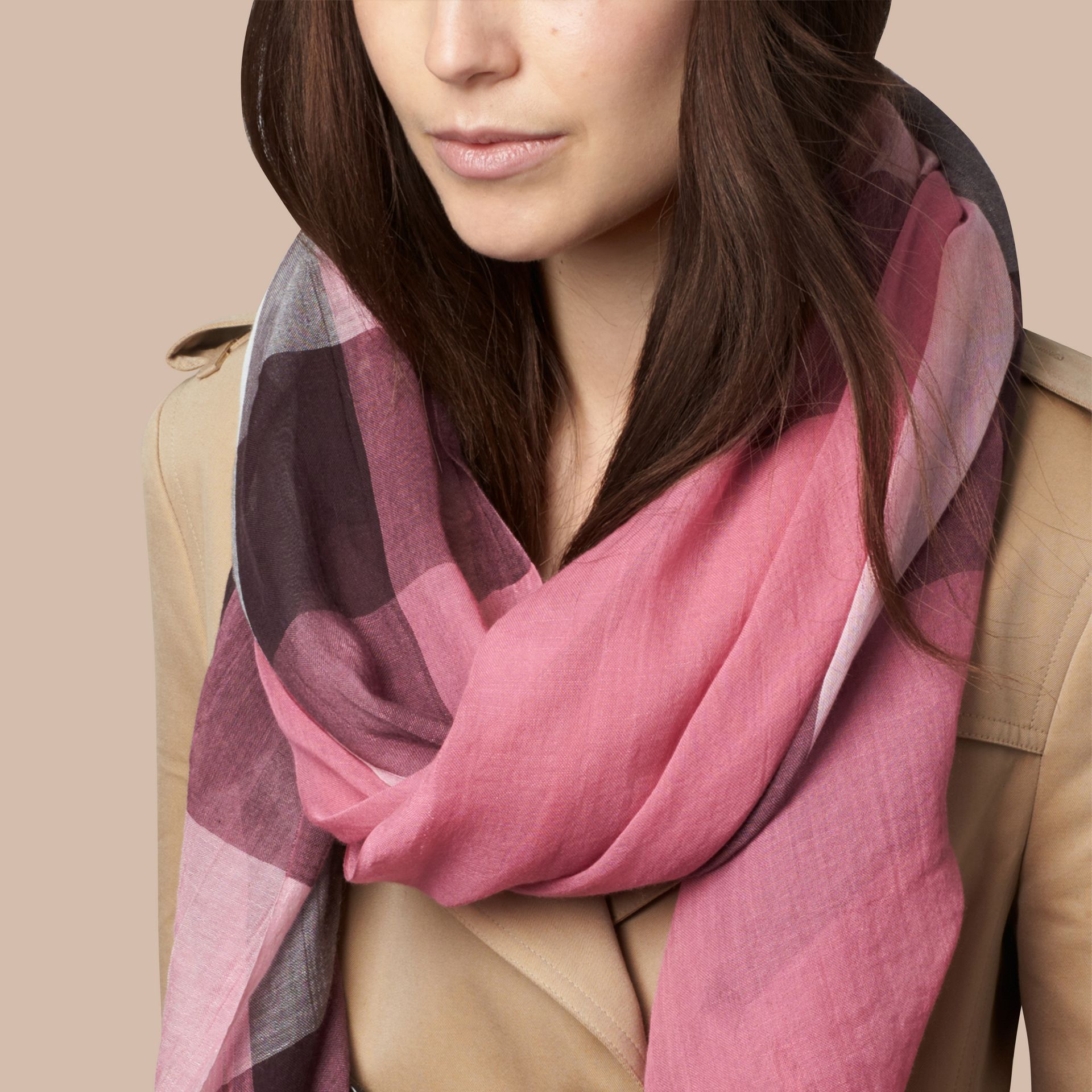 Rose pink Check Modal Cashmere and Silk Scarf Rose Pink - gallery image 3