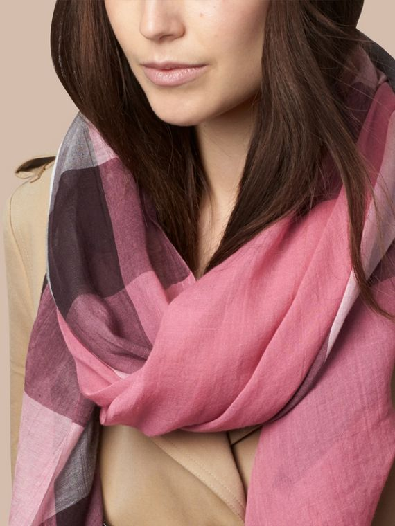 Rose pink Check Modal Cashmere and Silk Scarf Rose Pink - cell image 2