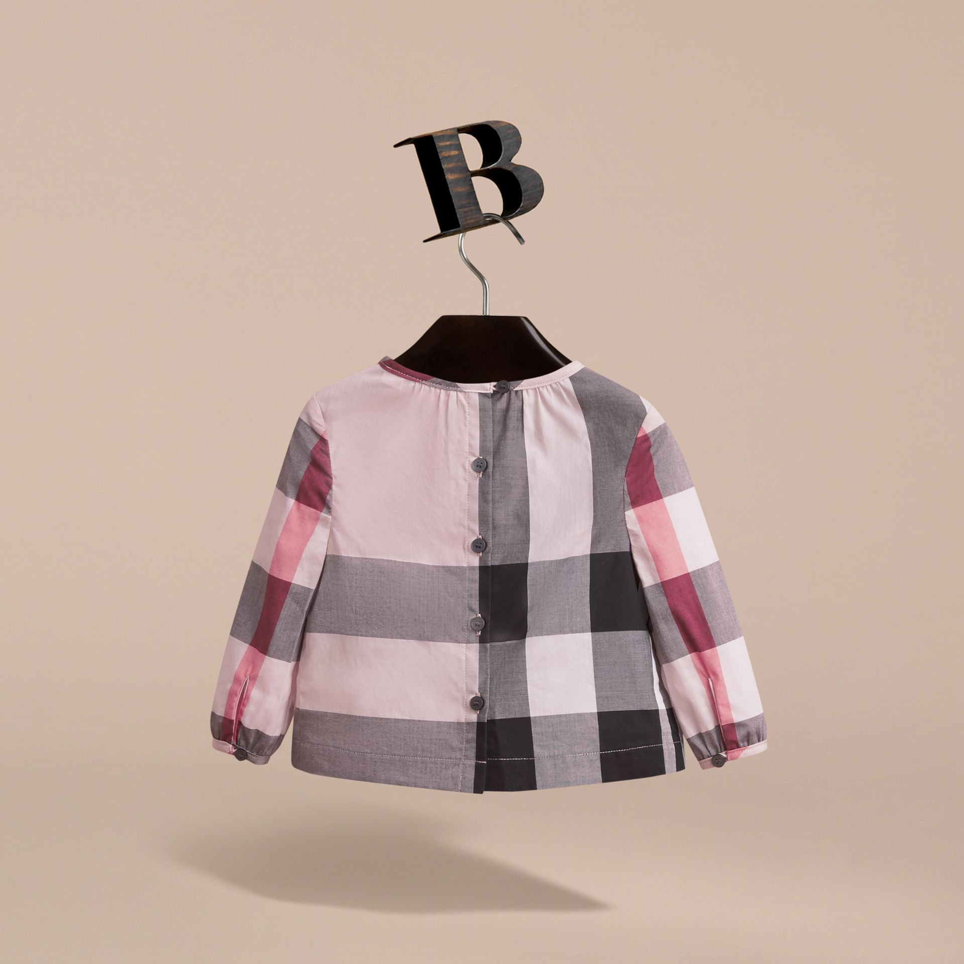 Ruffle Detail Check Cotton Top in Vintage Pink | Burberry - gallery image 4