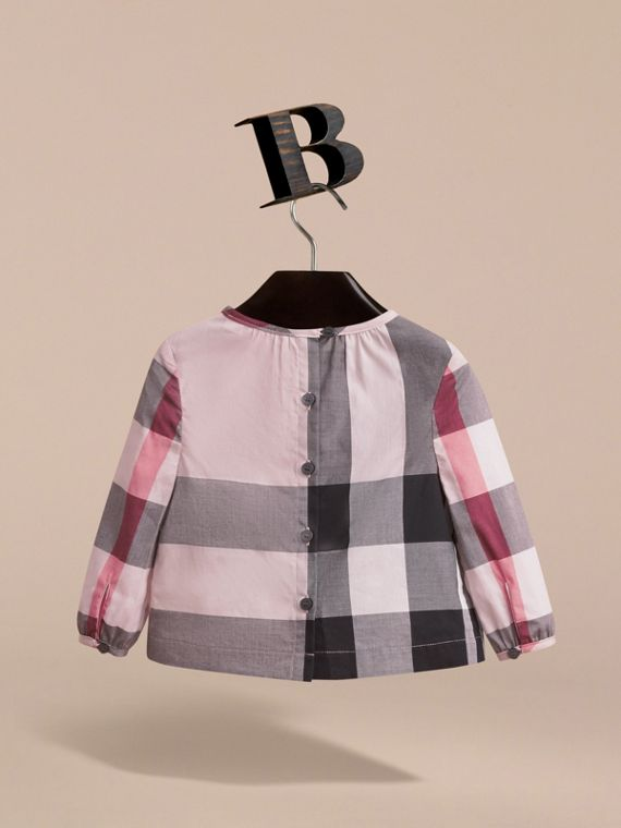 Ruffle Detail Check Cotton Top in Vintage Pink | Burberry - cell image 3