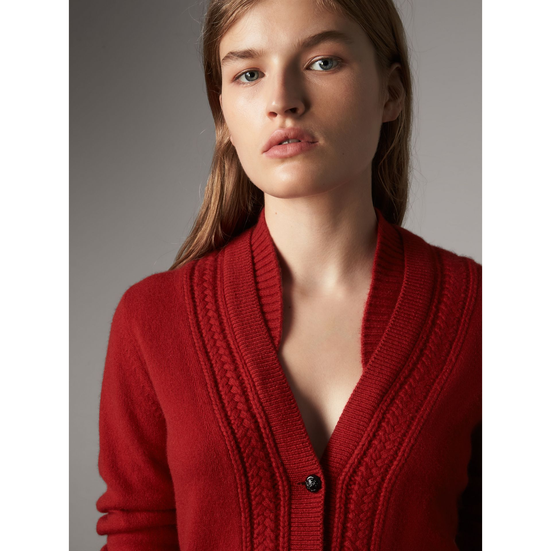 Cable Knit Detail Cashmere Cardigan in Military Red - Women | Burberry Canada - gallery image 1
