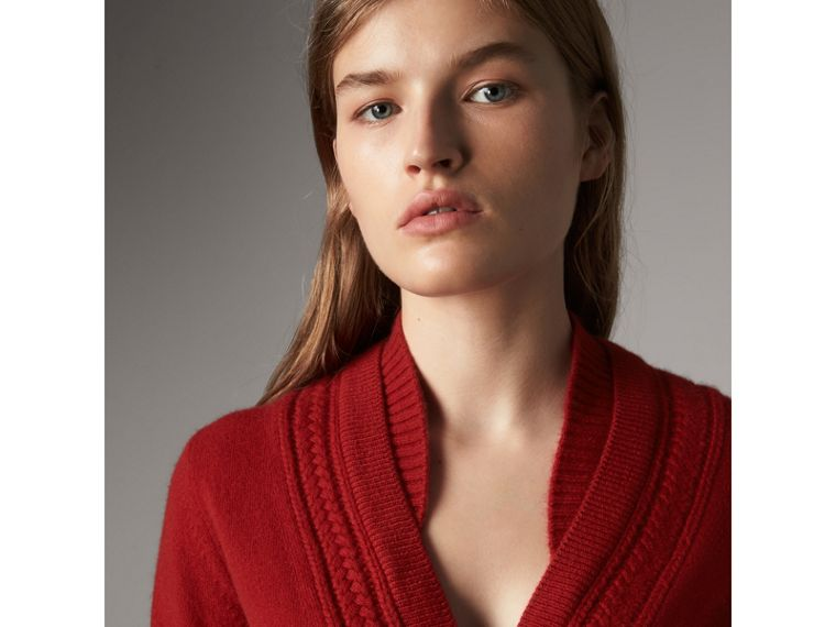 Cable Knit Detail Cashmere Cardigan in Military Red - Women | Burberry Canada - cell image 1