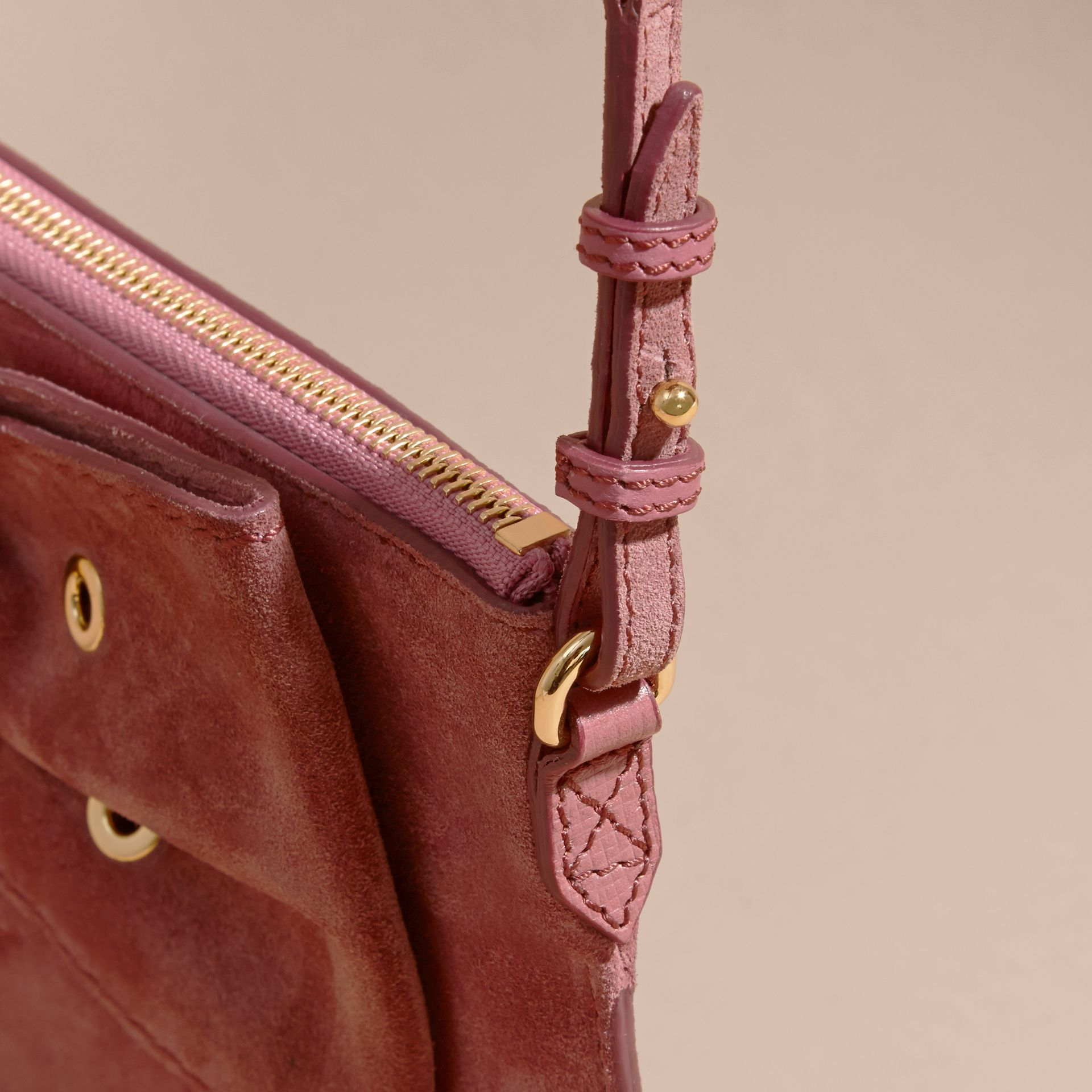 Suede Clutch Bag with Buckled Bow Detail Dusty Pink - gallery image 7