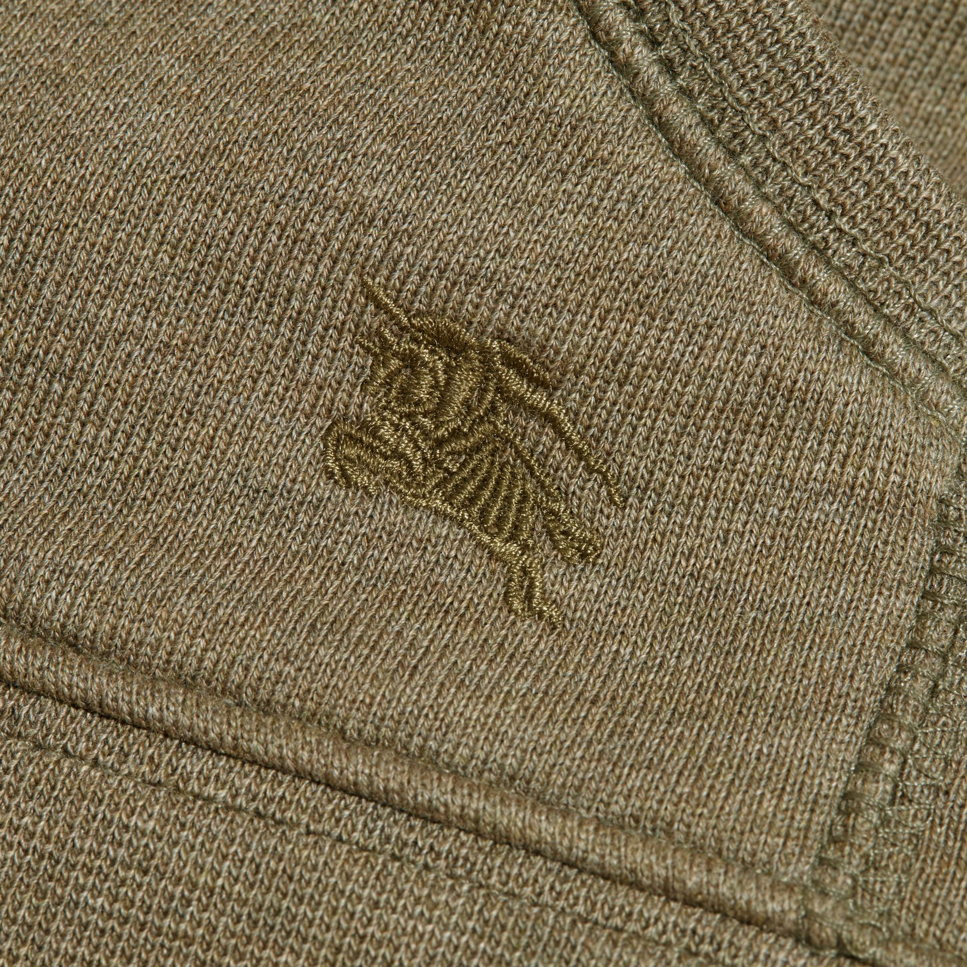 Check Detail Hooded Cotton Top in Khaki Green Melange | Burberry Hong Kong - gallery image 2