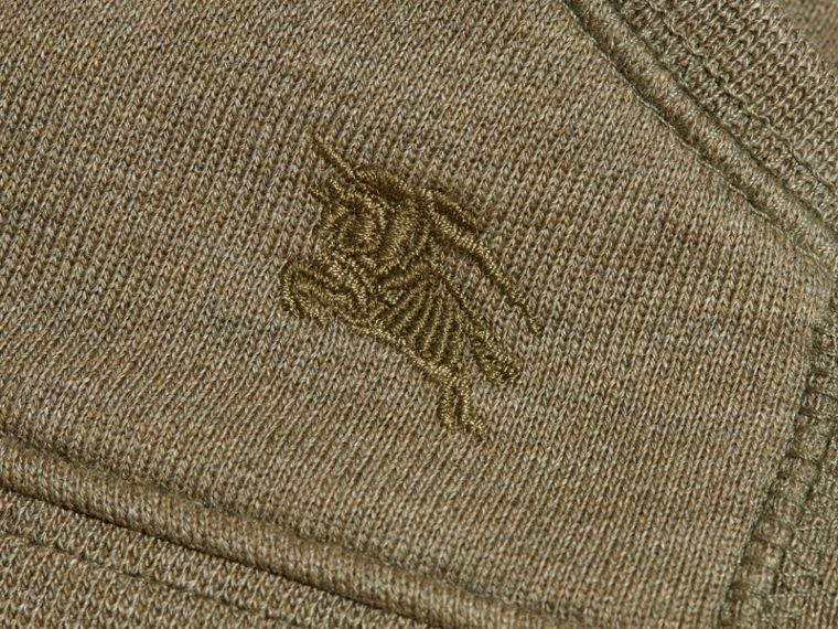 Check Detail Hooded Cotton Top in Khaki Green Melange | Burberry - cell image 1