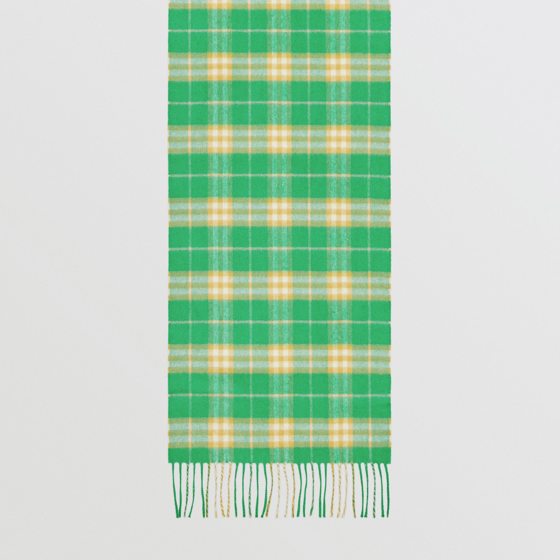 The Classic Vintage Check Cashmere Scarf in Tourmaline Green | Burberry Australia - gallery image 4