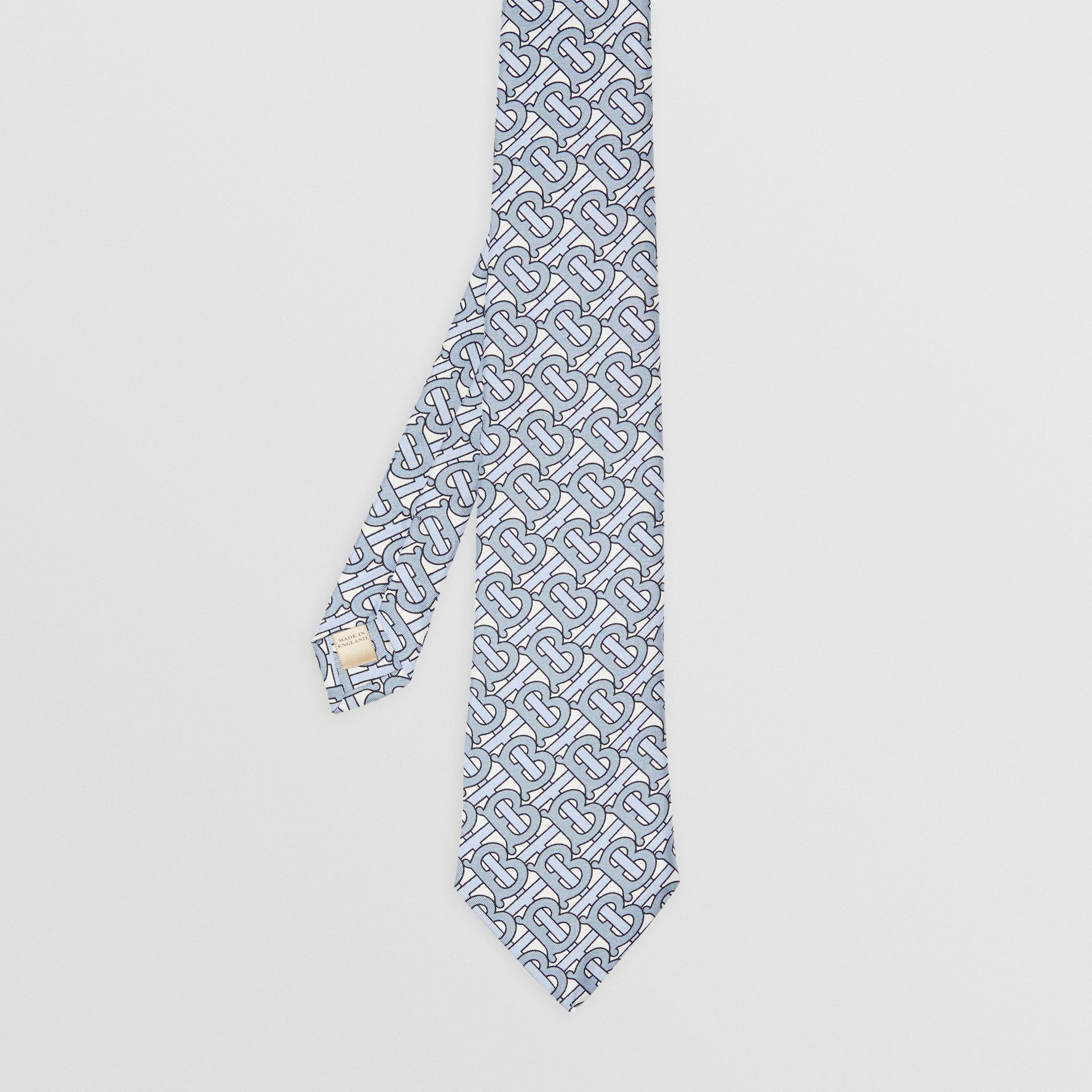Classic Cut Monogram Print Silk Tie in Pale Blue - Men | Burberry - gallery image 4
