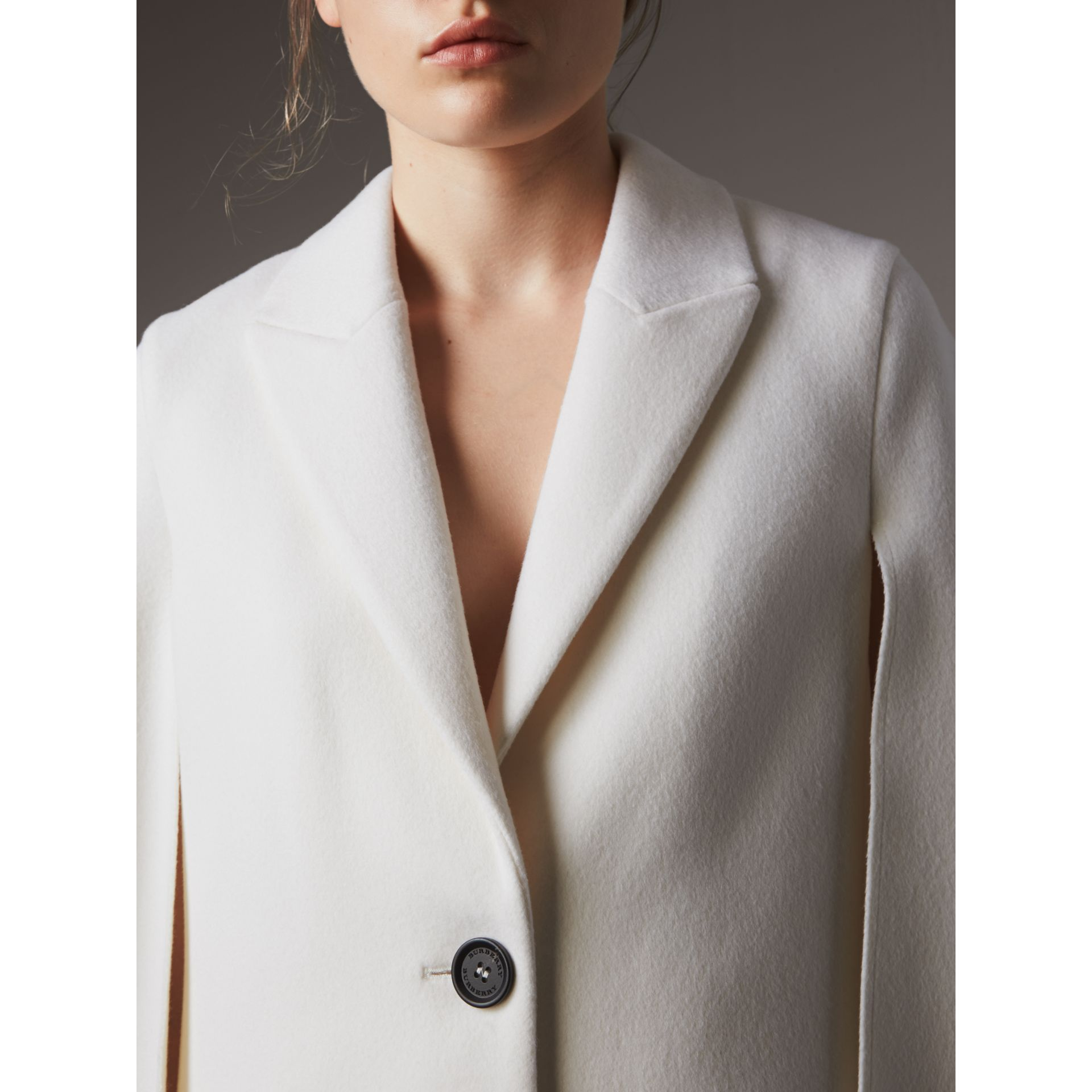 Double-faced Wool Cape Coat in White - Women | Burberry - gallery image 5