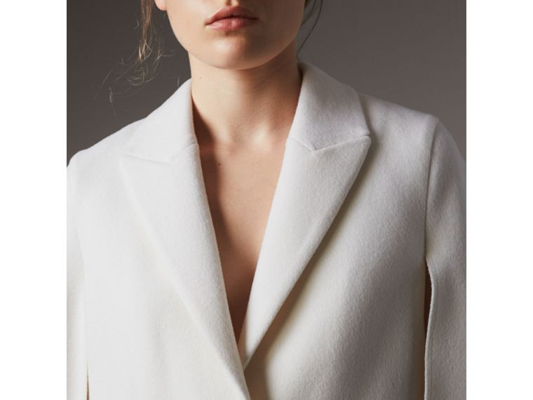 Double-faced Wool Cape Coat in White - Women | Burberry - cell image 4