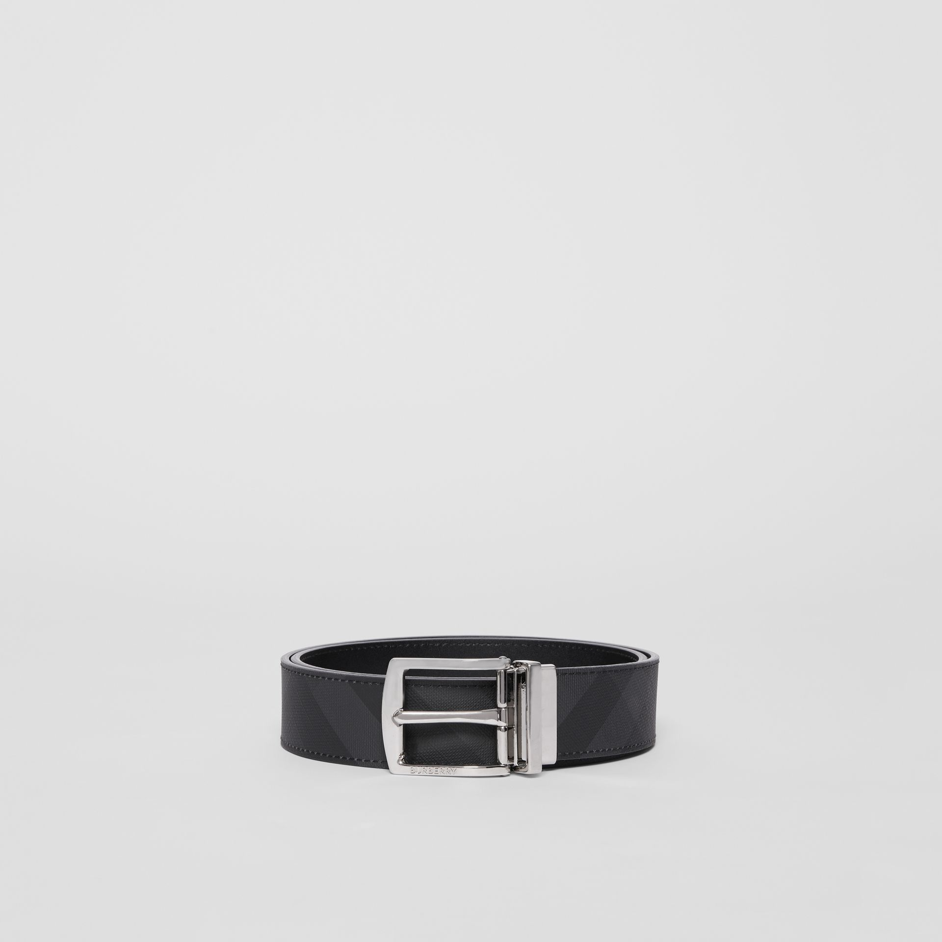 Reversible London Check and Leather Belt in Dark Charcoal/black - Men | Burberry Australia - gallery image 3