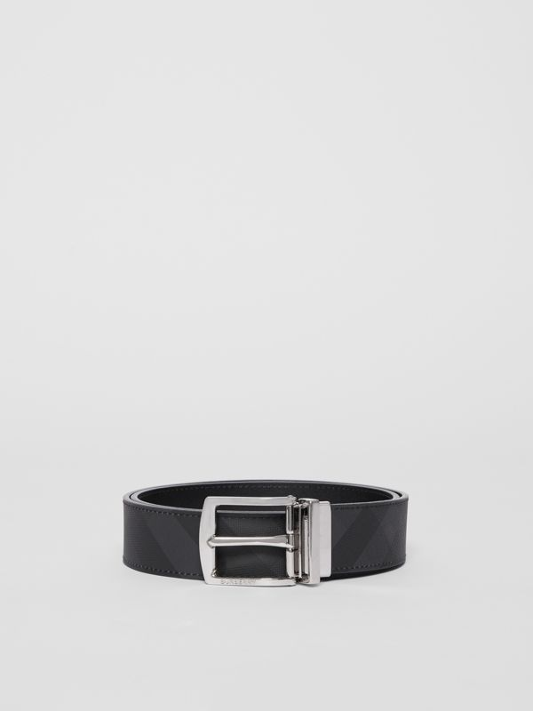 Reversible London Check and Leather Belt in Dark Charcoal/black - Men | Burberry - cell image 3