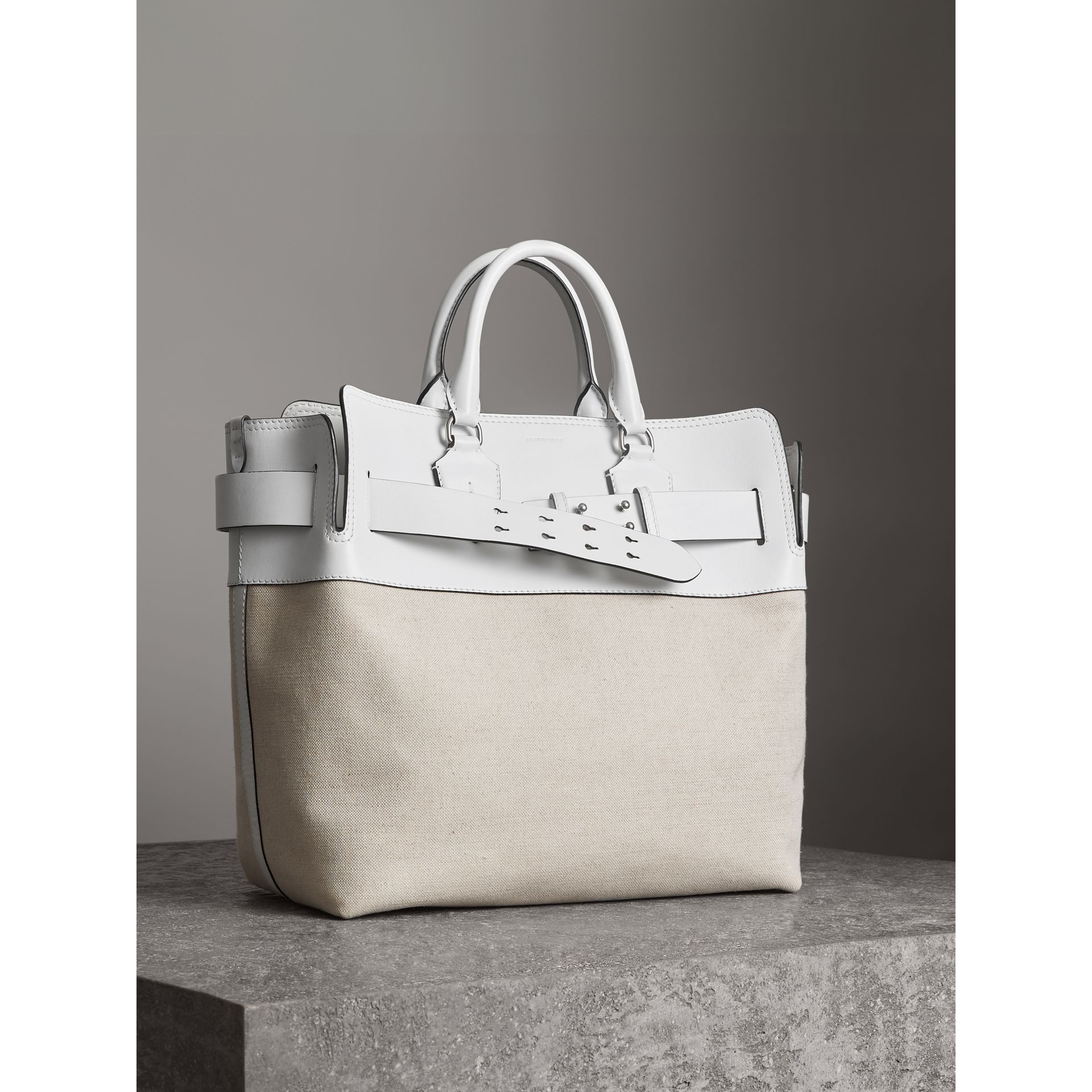 The Large Leather and Canvas Belt Bag in Chalk White | Burberry United States - gallery image 6