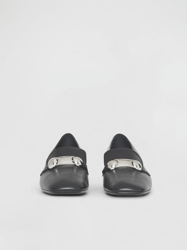 Studded Bar Detail Leather Pumps in Black - Women | Burberry United Kingdom - cell image 3