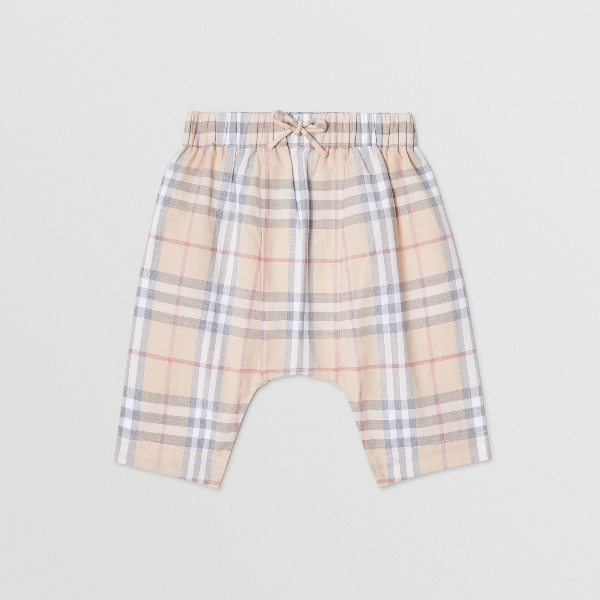 Vintage Check Cotton Drawcord Trousers in Pale Stone - Children | Burberry - gallery image 0