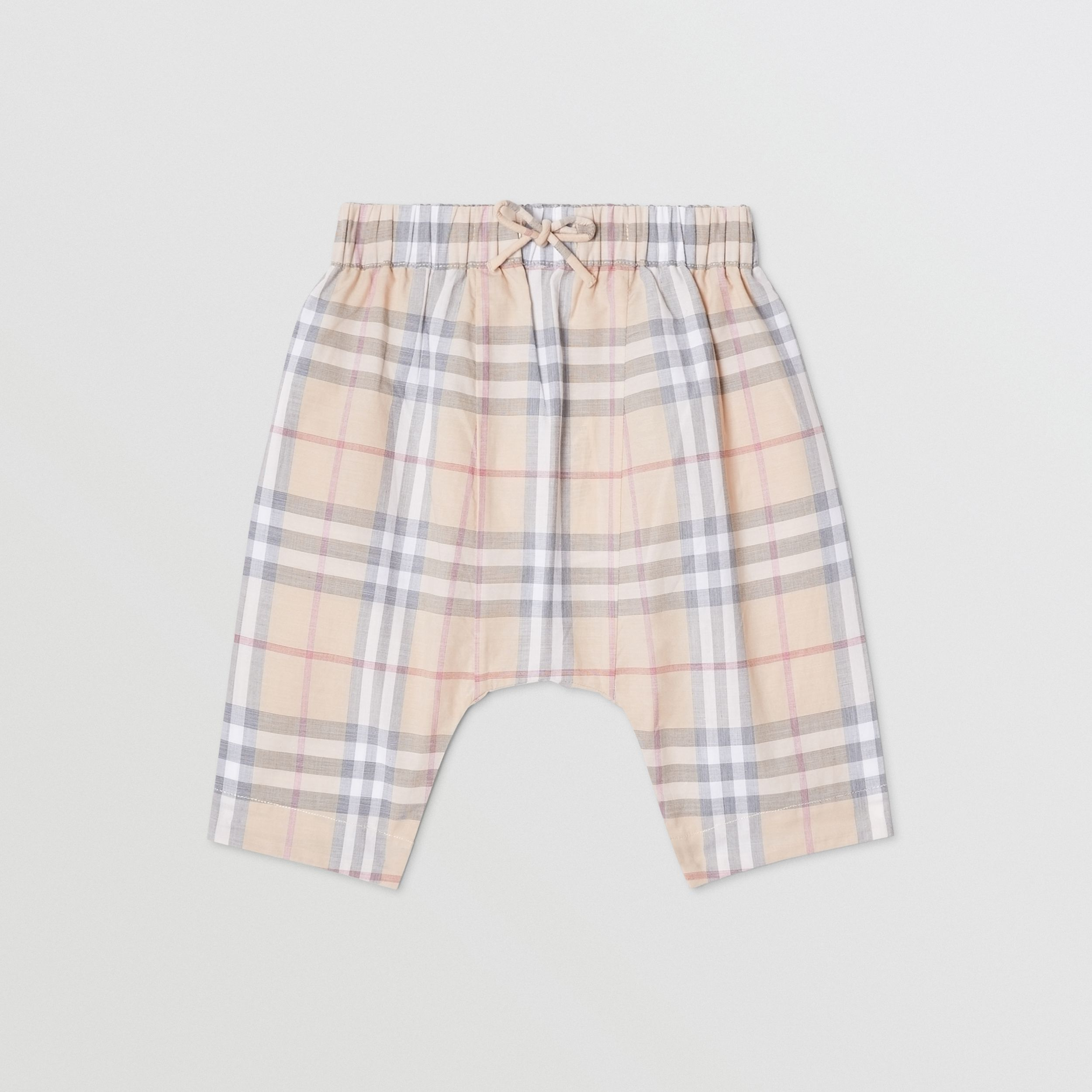 Vintage Check Cotton Drawcord Trousers in Pale Stone - Children | Burberry - 1