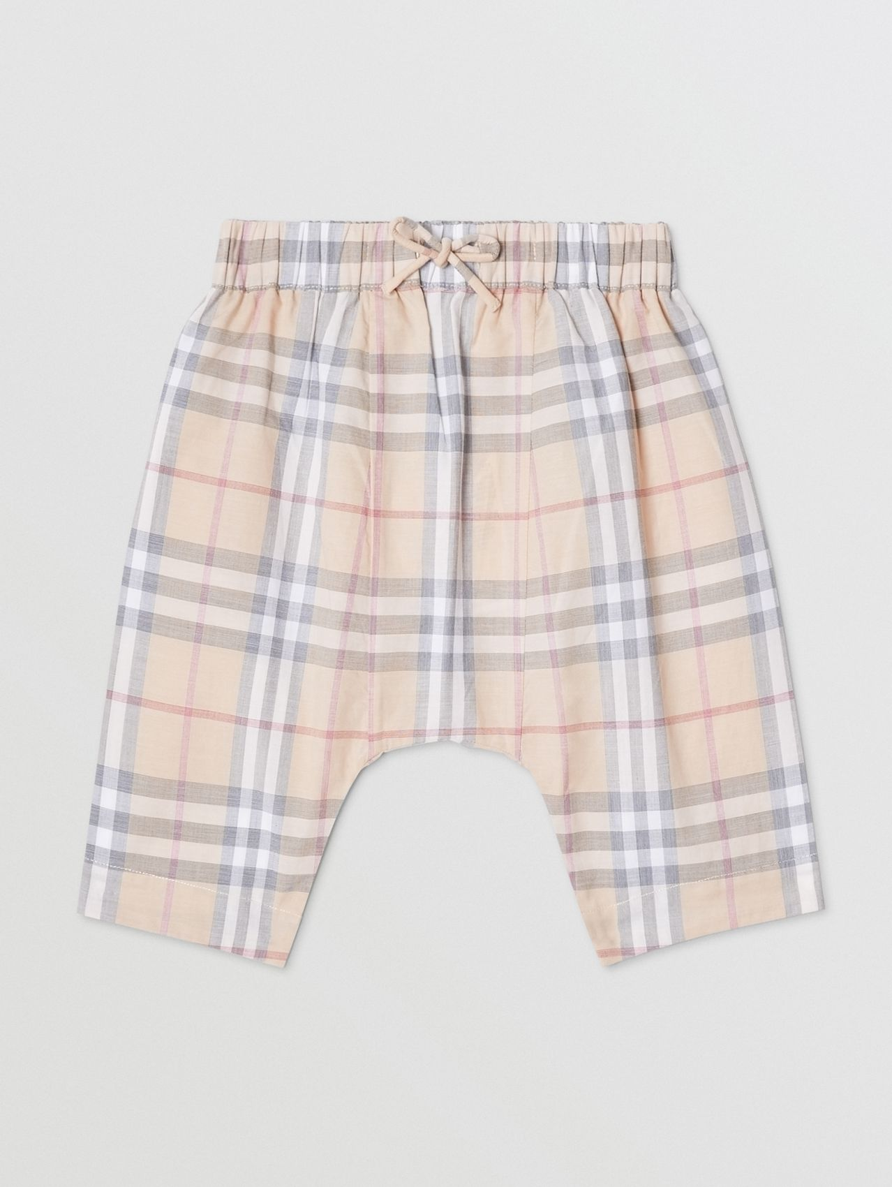 Vintage Check Cotton Drawcord Trousers in Pale Stone