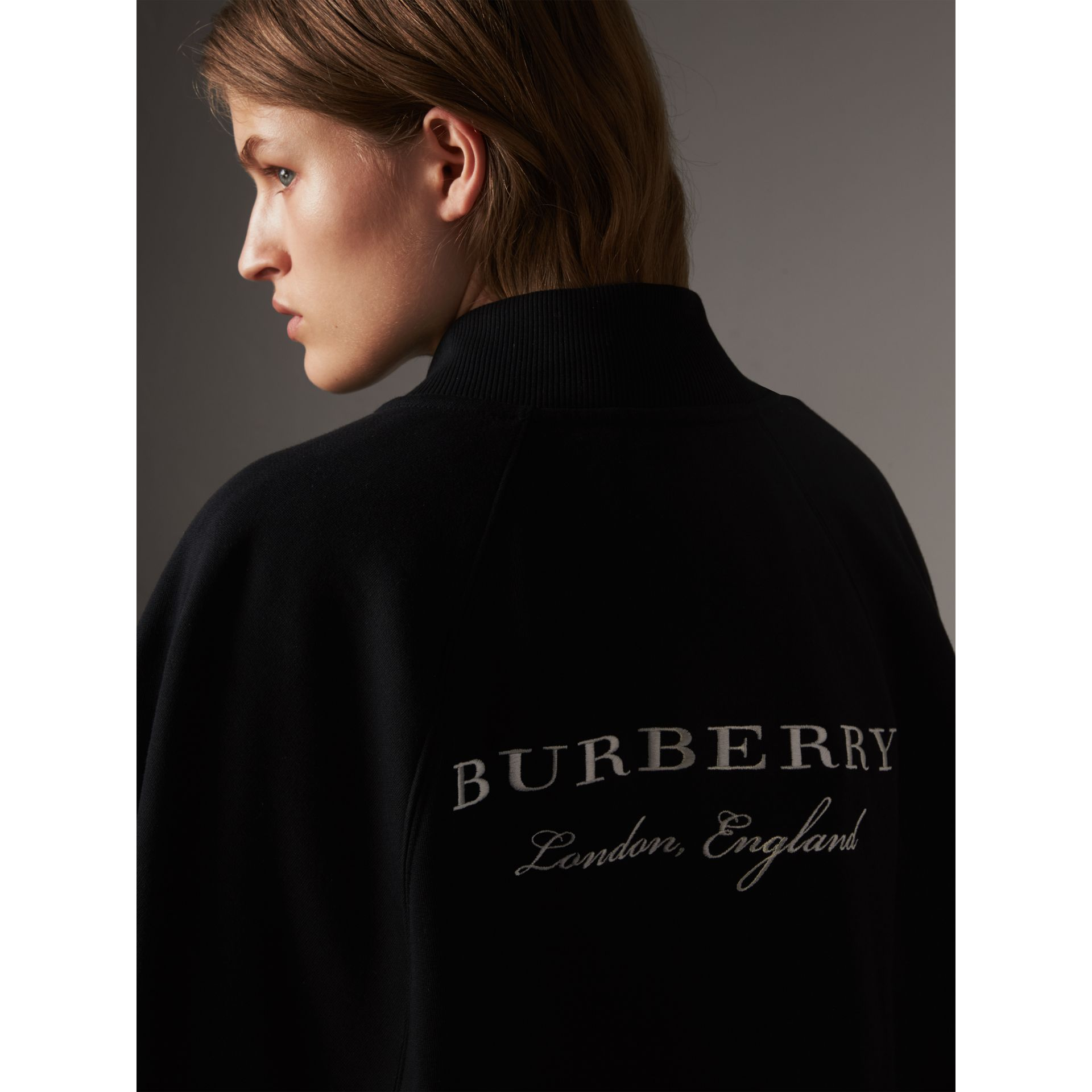 Embroidered Jersey Cape in Black - Women | Burberry - gallery image 1