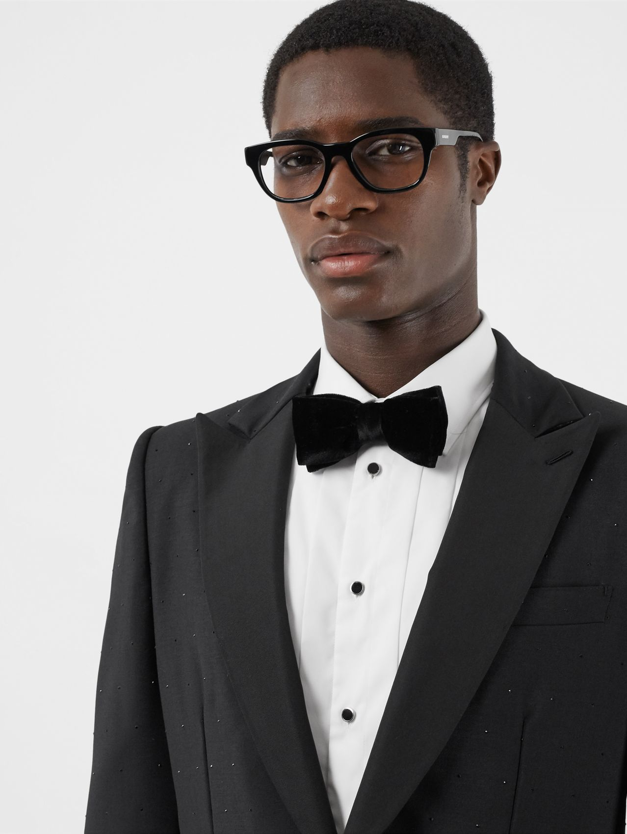Velvet and Silk Bow Tie in Black
