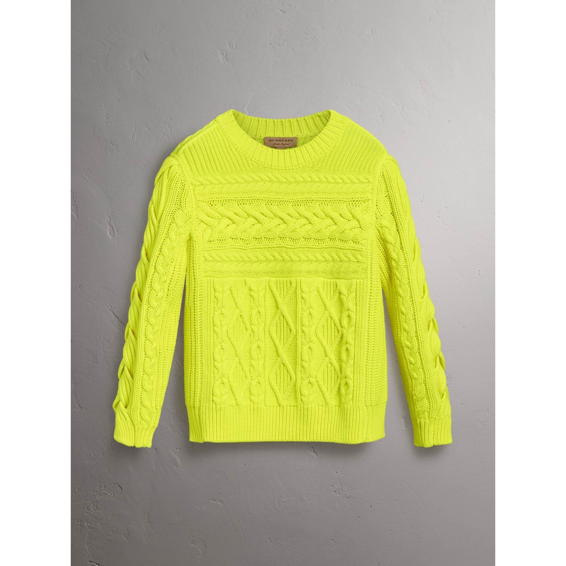 Aran Knit Wool Cashmere Sweater in Fluorescent Yellow - Women | Burberry Canada - gallery image 3