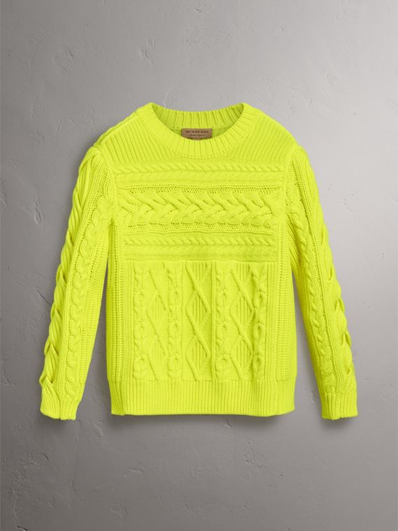 Aran Knit Wool Cashmere Sweater in Fluorescent Yellow - Women | Burberry Canada - cell image 3