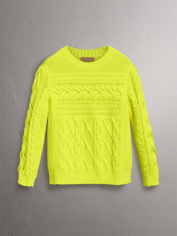 Aran Knit Wool Cashmere Sweater in Fluorescent Yellow - Women | Burberry - cell image 3