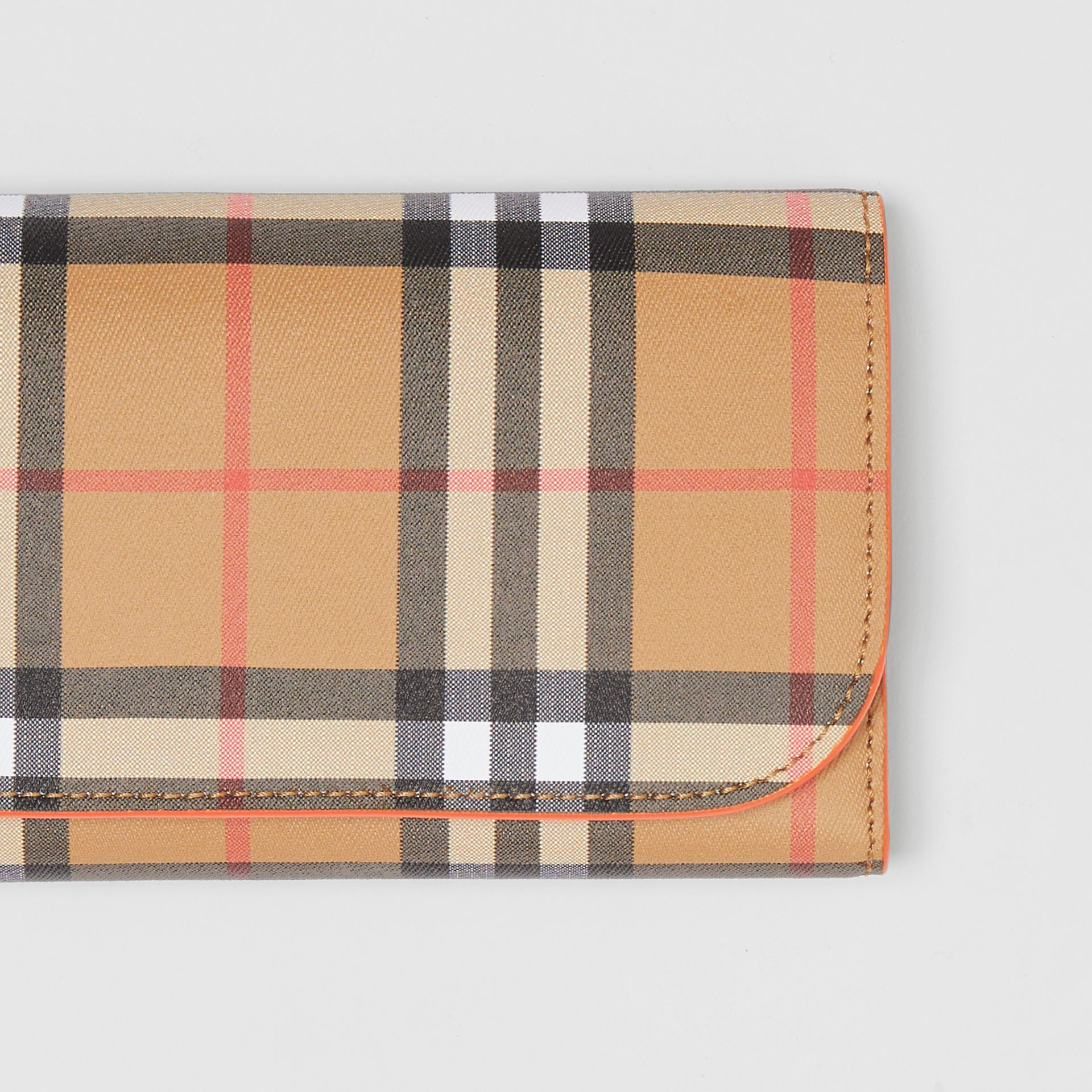 Vintage Check Continental Wallet with Zip Card Case in Clementine - Women | Burberry - gallery image 1