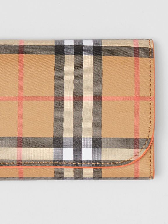 Vintage Check Continental Wallet with Zip Card Case in Clementine - Women | Burberry - cell image 1