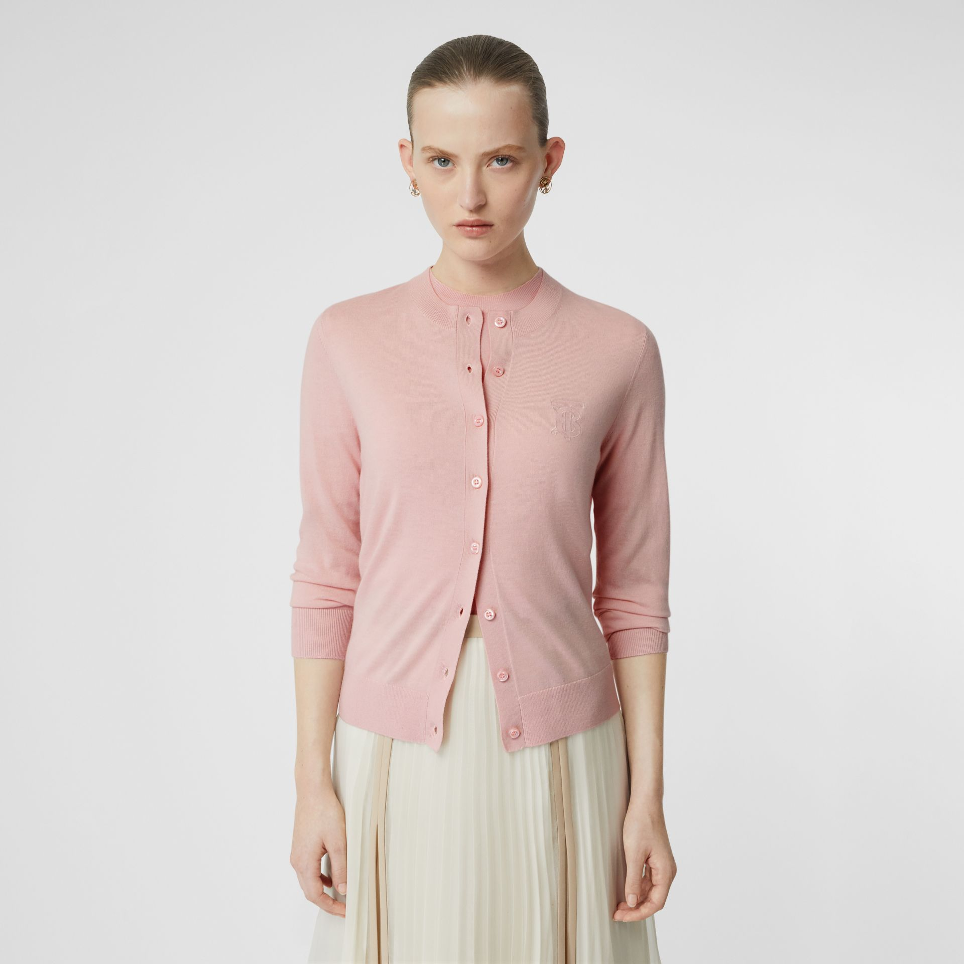 Monogram Motif Cashmere Cardigan in Pink - Women | Burberry - gallery image 3