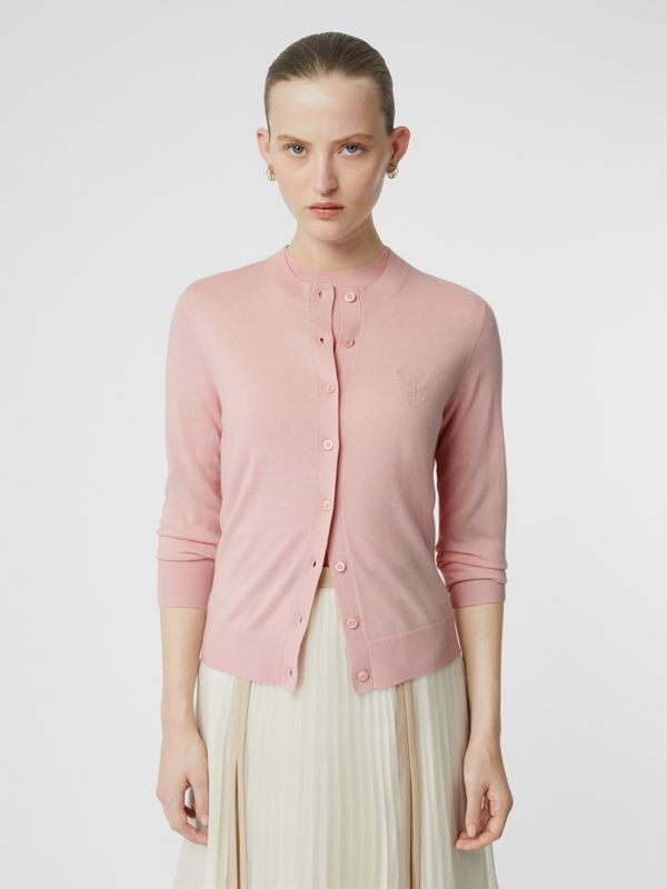 Monogram Motif Cashmere Cardigan in Pink - Women | Burberry United Kingdom - cell image 3