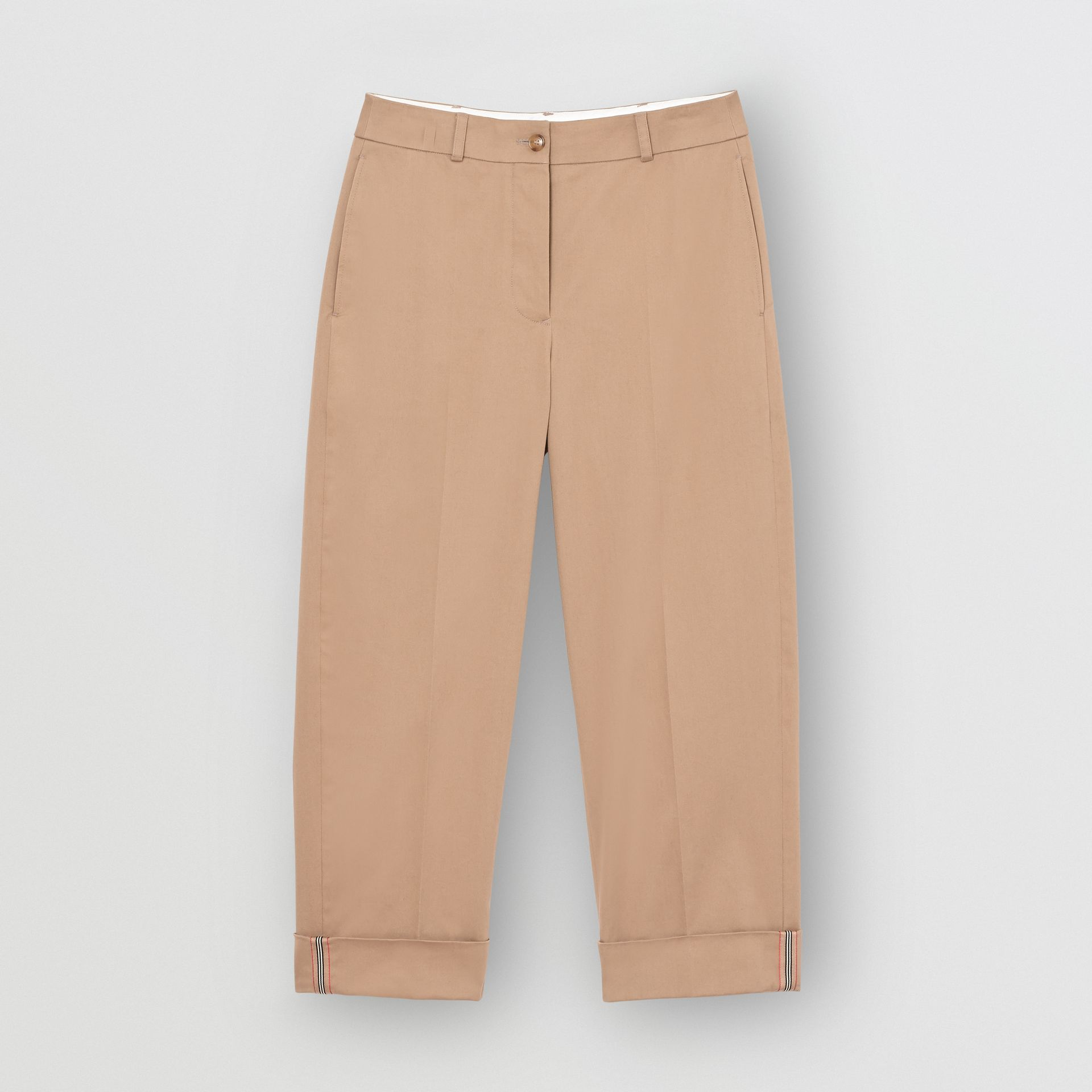 Icon Stripe Detail Stretch Cotton Cropped Trousers in Camel - Women | Burberry - gallery image 3