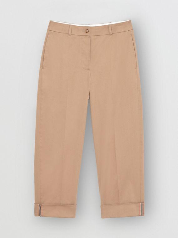 Icon Stripe Detail Stretch Cotton Cropped Trousers in Camel