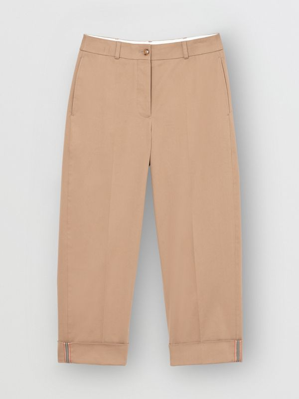 Icon Stripe Detail Stretch Cotton Cropped Trousers in Camel - Women | Burberry - cell image 3