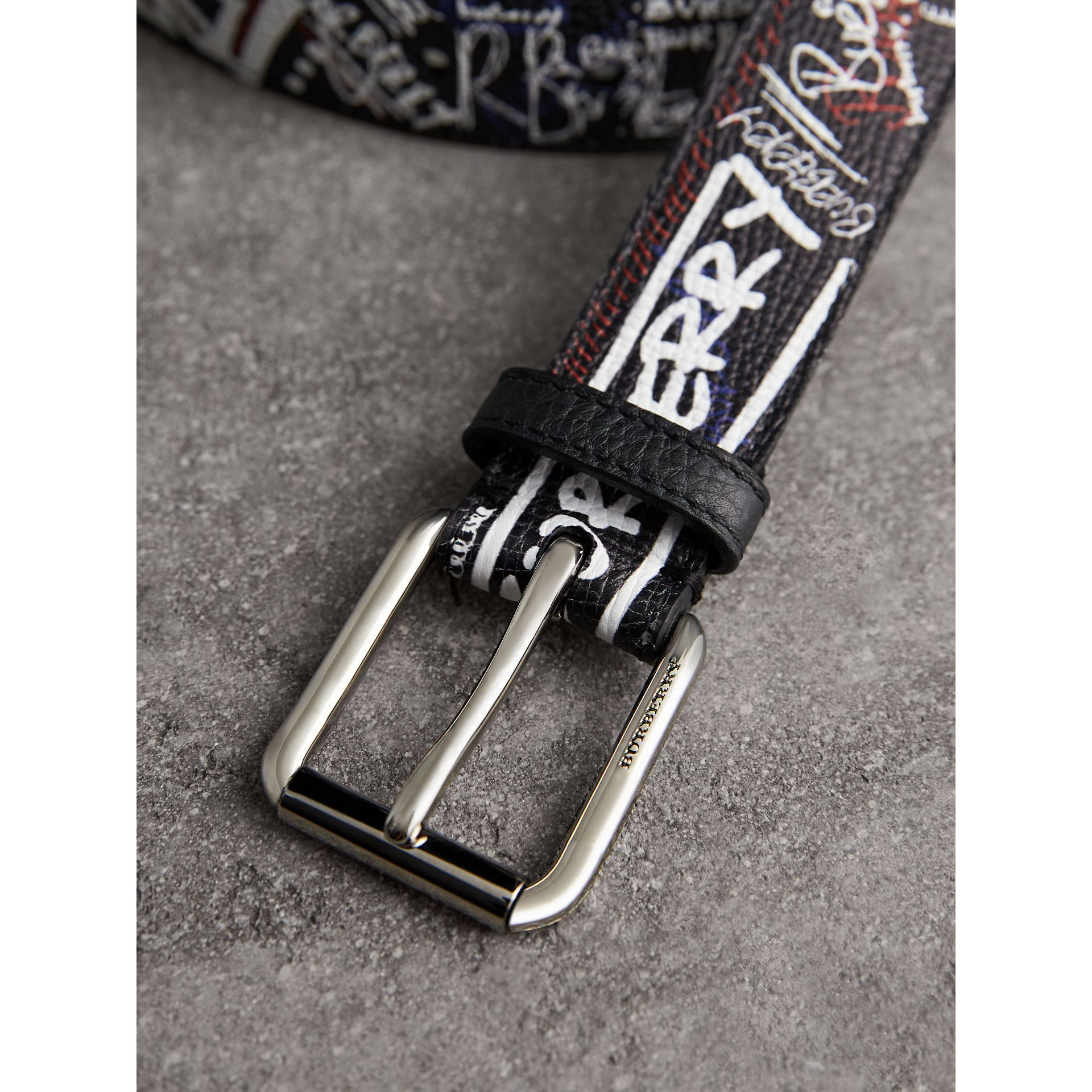 Doodle Print Leather Belt in Black - Men | Burberry - gallery image 1