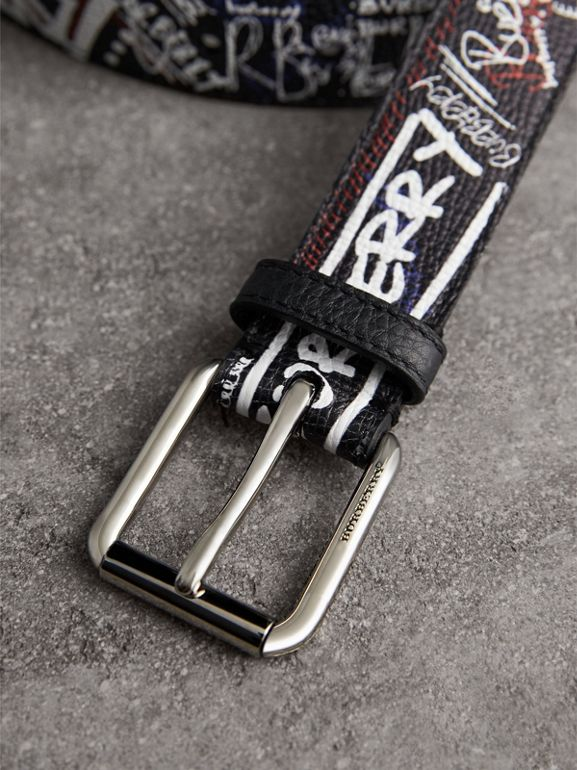 Doodle Print Leather Belt in Black - Men | Burberry - cell image 1