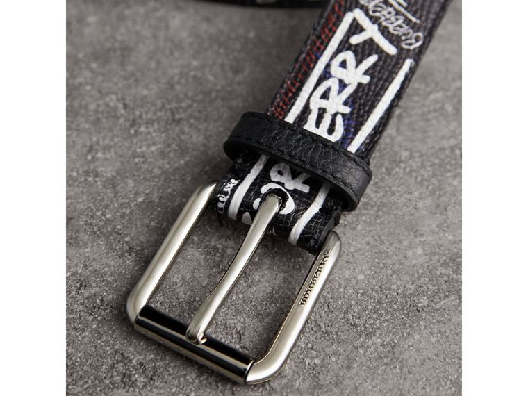 Doodle Print Leather Belt in Black - Men | Burberry - cell image 1
