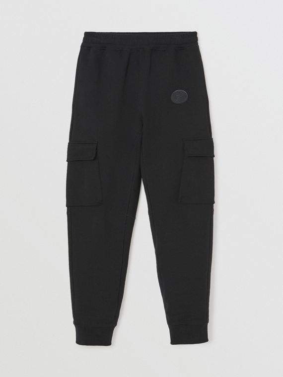 Pocket Detail Cotton Jersey Trackpants in Black
