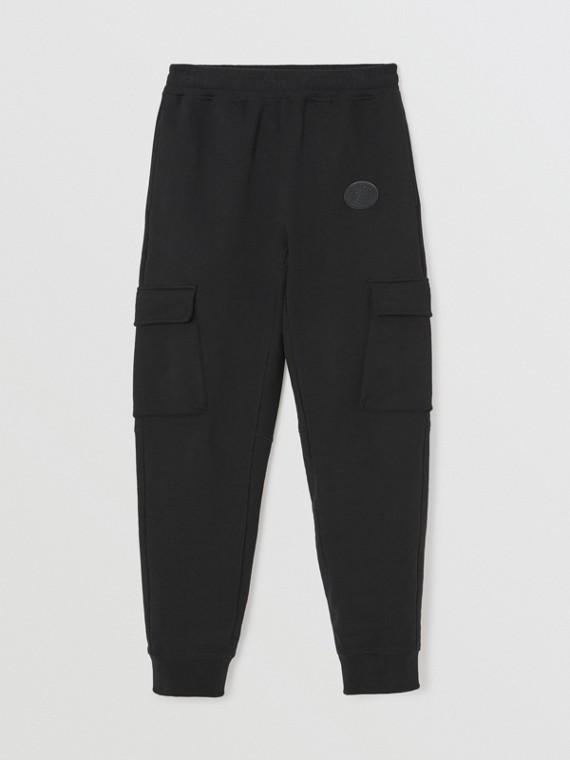 Pantalones deportivos en tejido jersey de algodón con detalle en el bolsillo (Negro)