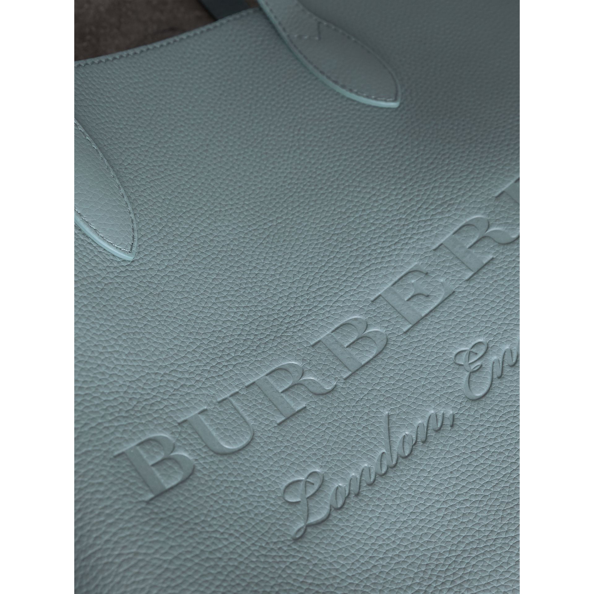 Medium Embossed Leather Tote in Dusty Teal Blue | Burberry - gallery image 2