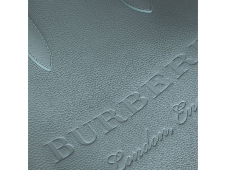 Large Embossed Leather Tote in Dusty Teal Blue | Burberry - cell image 1