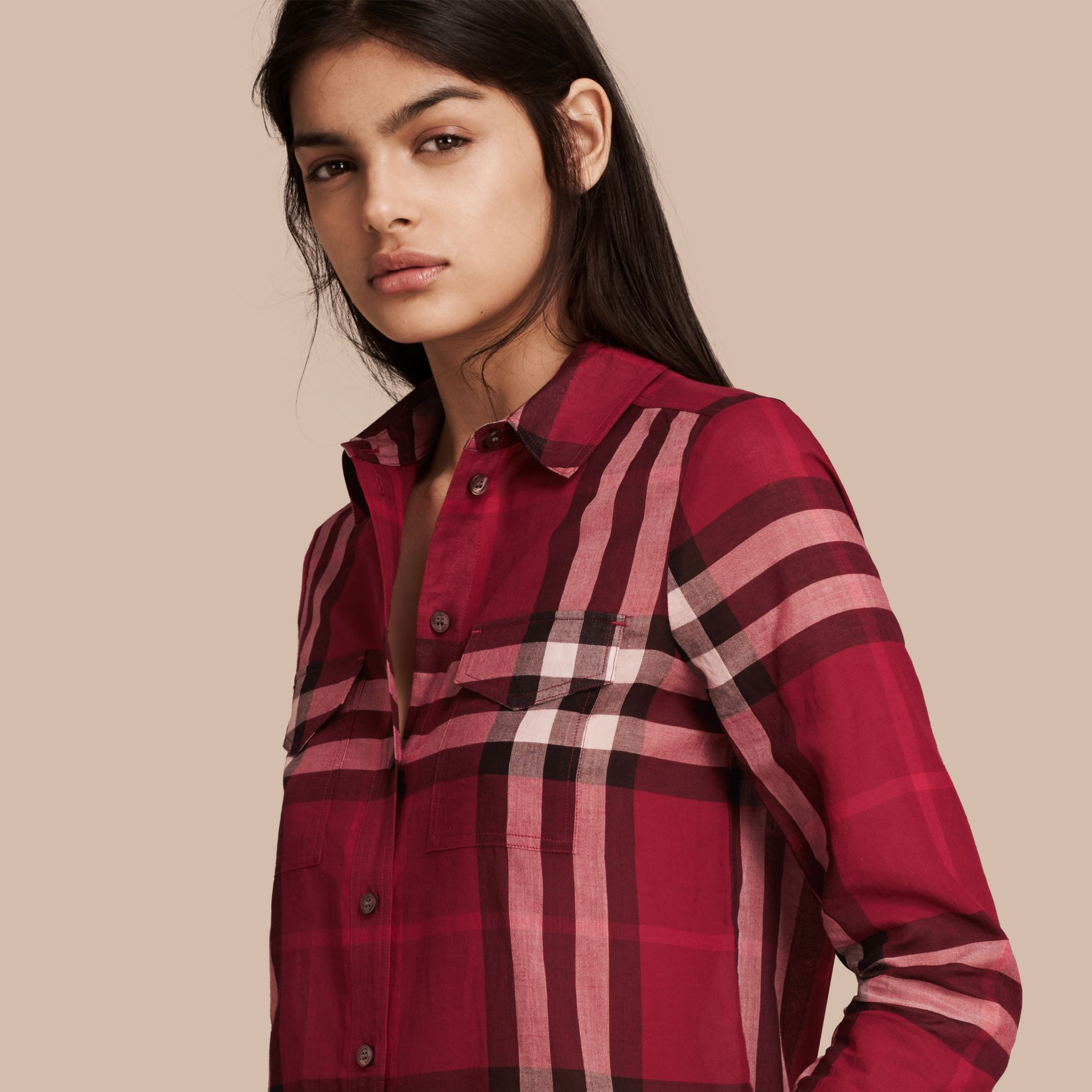 Poppy red Check Cotton Shirt Poppy Red - gallery image 1